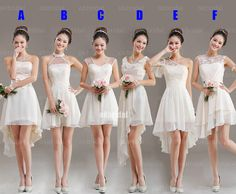 white lace bridesmaid dresses. || I really like B. or the dress shape of B with the lace shoulder design from F.