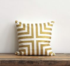 Handprinted throw pillow cover Doha metallic gold & by melongings, $70.00