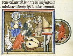 King David playing a psaltery accompanied by tuba, organ and cymbal players. From the Psalterium Beatae Elisabeth. Illuminated manuscript; 13th century.  N.Archeological Museum,Cividale  del  Friuli,Italy