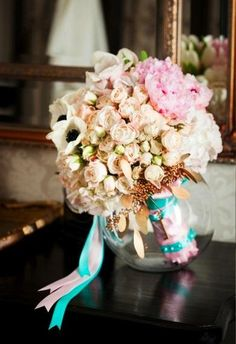 #gold #blush #teal #glam bouquet (Photo by Christopher Todd Studios)