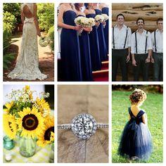 sunflower/navy blue wedding.