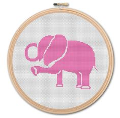 Pink Elephant  Counted Cross stitch  Pattern PDF by WonderNeedle, $3.50