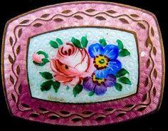 Czechoslovakian Hallmarked Dusty Rose Enamel Brooch