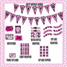 Pink Camo Premium Party Pack JPEG 300 dpi Printable DIY Birthday girls theme pink animal  deer hunting cup cake toppers outdoor wildlife on Etsy, $30.00