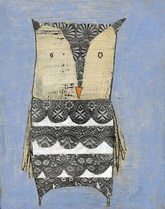 """Lacey"" #owl #collage by Charlotte Foust"