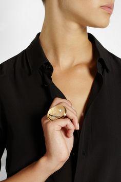 Saint Laurent|Bague Cherry gold-plated quartz ring|NET-A-PORTER.COM