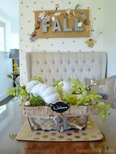 Fall Centerpiece with White Pumpkins (Tutorial) -- Tatertots and Jello #1905Cottage #DIY #Fall