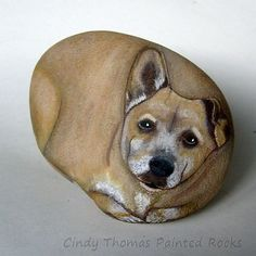 Pet memorial rock painted by Cindy Thomas