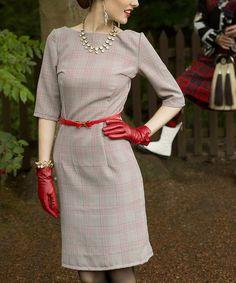 gray plaid, 40s style, sheath dress, the dress, apples, shabbi appl, vintage inspired, vintage style, vintage clothing