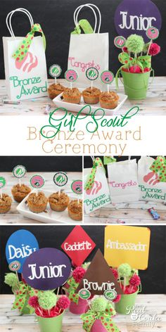 Cute ideas to make a Girl Scouts bronze award or bridging ceremony extra special and extra adorable.