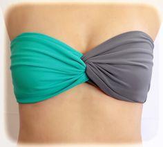 Bandeau-Swimwear-Spandex-Bandeau-Bikini-Bra-Top-Grey--Dark-Mint-Top-Twisted-Bandeau,-Bandeau-Black-Spandex-,-Strapless-Bra,-Bandeau-Bikini