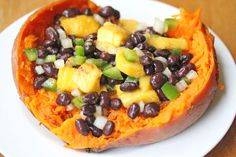 sweet potatoes with mango salsa,  substitute for the butter and it is Vegan!