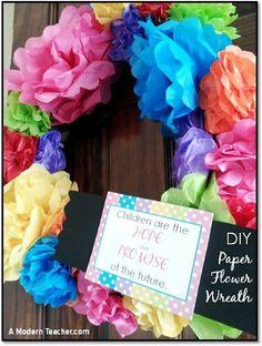 DIY: Rainbow Inspired Classroom Door Wreath; Free Printable