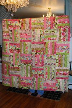 super easy 6x6x6 quilt rail fenc, 6 color quilt, pretti quilt