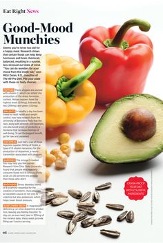 Mood boosting foods: peppers, walnuts, chickpeas, sardines, avocados, sunflower seeds #health #diet #nutrition #workout www.BlueRainbowDesign.com
