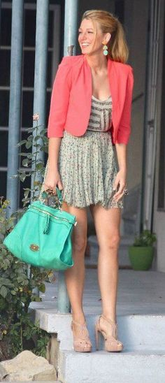 <3 skirt, coral, fashion, blake lively, dresses, outfit, grey, blazers, bags