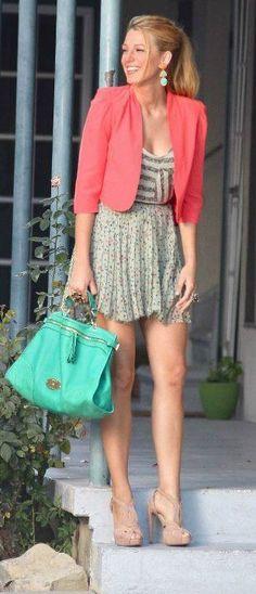 skirt, coral, fashion, blake lively, dresses