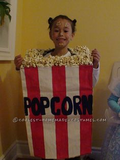 Cool Popcorn Bag Costume for a Girl... Coolest Halloween Costume Contest