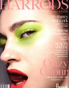 Love the lime green eye makeup on the cover of this Harrods magazine.