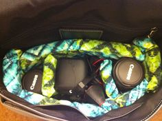 """After searching for a girlie camera bag for a decent price and coming up empty, I ran across a number of tutorials for making a camera bag insert.  Thanks to http://www.lilblueboo.com/2010/10/camera-bag-insert-tutorial.html, I have my perfect little camera bag tucked inside my """"purchased onsale"""" Coach messenger bag. :)"""