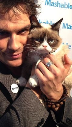 Even Grumpy Cat isn't so grumpy with Ian Somerhalder