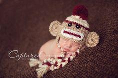 Baby Boy Hat CUTE Newborn Baby Boy  Crochet knit Sock Monkey Hat With Ear Flaps FREE Shipping. $24.99, via Etsy.