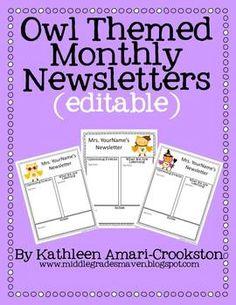 Owl Themed Newsletters (Editable)!