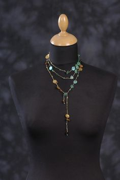 Long Lariat Crocheted Necklace  Crochet Lariat Necklace by terminy, $31.00