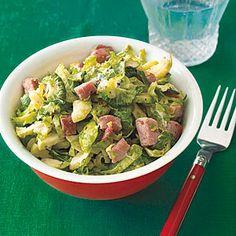 food recip, veggi, hams, salad recipes, brussel sprout, brussels sprouts, yum, ham recipes, veget