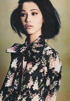 mizuhara kiko, little girls, asian models, fashion, floral prints, dark hair, bows, short short hair, kiko mizuhara