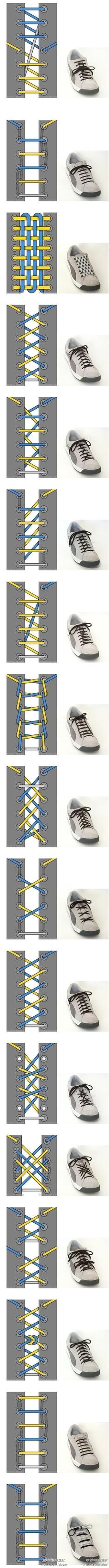 Different ways to tie shoe laces!