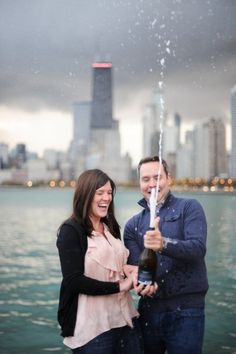 engagement photos - pop some champagne