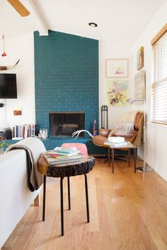 wall colors, blue, brick, painted fireplaces, white rooms
