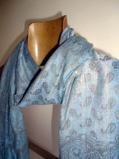 VINTAGE SCARF Blue Grey with a Cornucopia Pattern by AllFullOfLove, $3.90