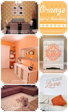 Cutting Edge Stencils shares gorgeous orange stenciled rooms that are sure to inspire! http://www.cuttingedgestencils.com/wall-stencils-stencil-designs.html #wallstencils