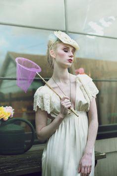 Cream Silk and Cotton Lace Moonlight Garden Wedding Dress.  via Etsy.