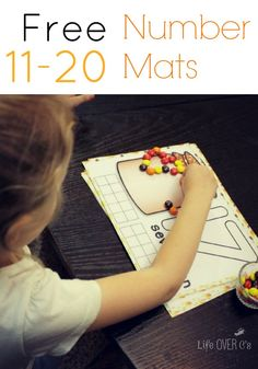Free Fall Counting Mats: Numbers 11 to 20 You could use these with candy, pom poms, or even play dough!
