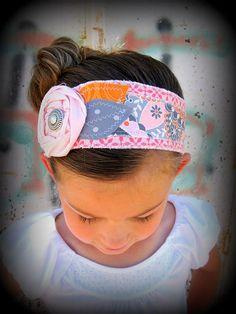 Gray Pink Orange Fabric Headband, Unique Fabric Wrap Headbands