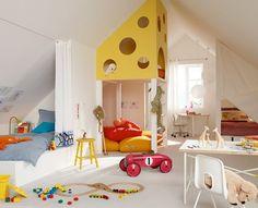 This play/sleep combo if a playhouse looks like swiss cheese! Cute.