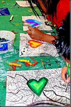 confer idea, art lesson, heart zentangl, zentangl ideafun, kid confer