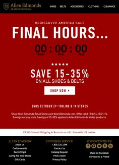 In this email, Allen Edmonds included a countdown timer to count down the final hours, minutes, and seconds to the end of an online and in-store sale. #emailmarketing #countdownclock #retail #realtime