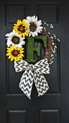 Summer and Fall Sunflower Wreath With Moss Monogram, Pussywillow, and Chevron Burlap Bow