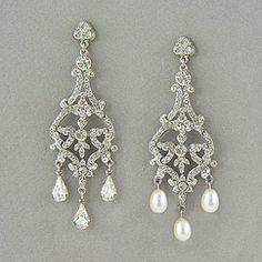 Vintage crystal bridal chandelier earrings at Perfect Details. Understated to avant garde evening & wedding chandelier earrings in crystal & pearl.