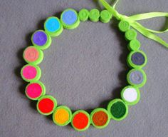 Felt necklace rainbow multicolor beads by IfffkaDesign on Etsy, zł39.00