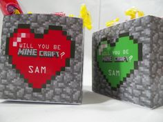 12 Boxes Minecraft  Valentine's Day Birthday Party Favors Treats on Etsy, $9.99
