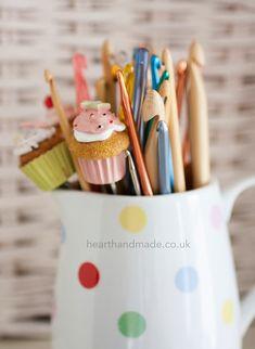 My Craft Room Tour - crochet hooks in a cath kidston spotty jug