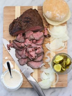 Sirloin Steak Sandwiches with Horseradish Sauce on foodiecrush.com