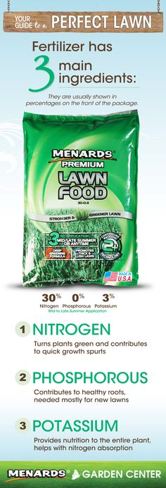 Learn more about these ingredients and the science behind your fertilizer! http://www.menards.com/main/c-12592.htm?utm_source=pinterest&utm_medium=social&utm_content=perfect_lawn&utm_campaign=gardencenter