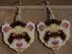 Rascal the ferret brick stitch seed beaded earrings by wolflady, $20.00