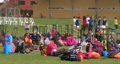 A herd of rolling bags at a school in Peru